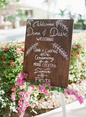 Wedding destination in Mexico wood sign with white modern calligraphy writing cocktails