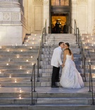 Votive candles on stairs of New York Public Library