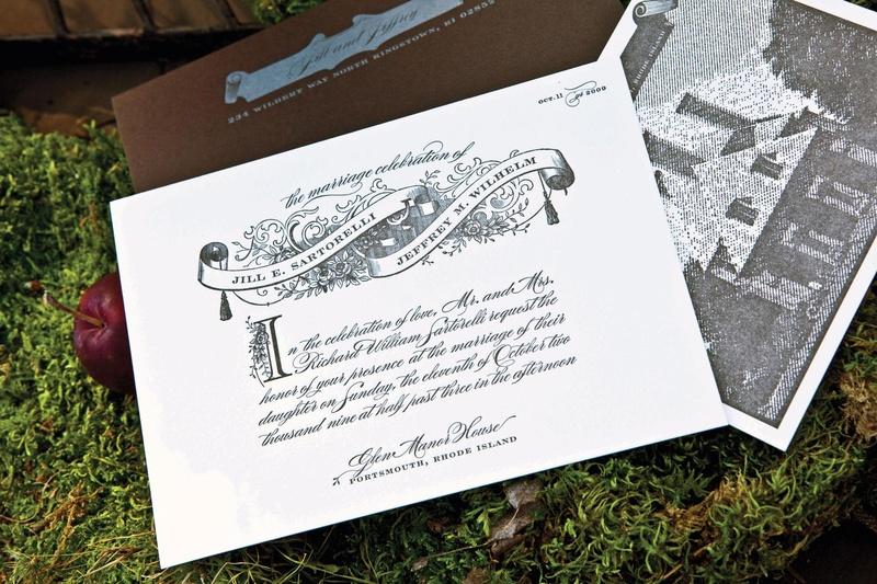 Grayscale wedding invitation with scroll design