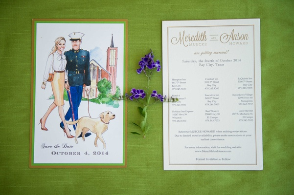 Watercolor save the date for military wedding with couple walking dog