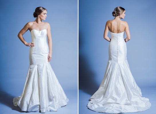 Jinza Couture Bridal 2016 elongating strapless wedding dress with button down back and mermaid cut
