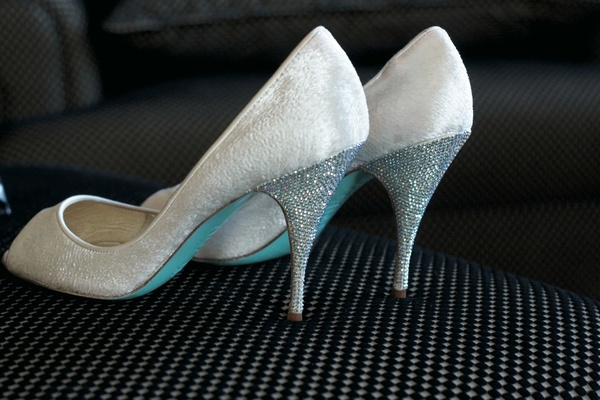 Christian Louboutin bridal heels with light blue soles