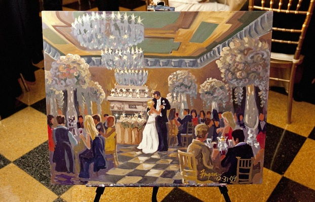 Live artist's artwork of couple dancing in ballroom