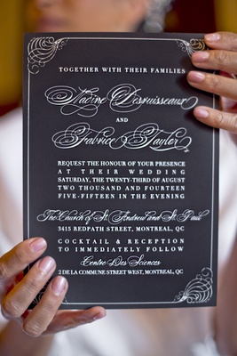 ceci new york invitations, black paper white ink, frilly cursive for names