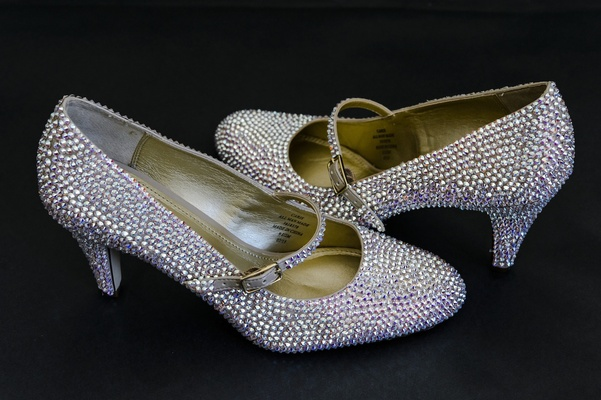 Kitten heel Mary Jane pumps with crystal foot strap
