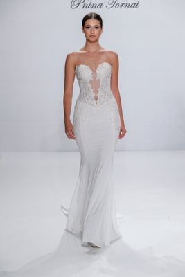 Pnina Tornai for Kleinfeld 2017 Dimensions Collection strapless corset wedding dress lace-up sheer