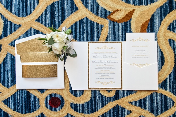 invitation suite with gold glitter border, envelope liner of gold glitter