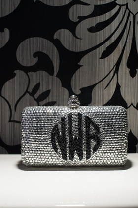sparkly bedazzled clutch with bride's monogram in black