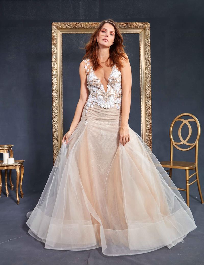 4a016cb3a6b8 Galia Lahav Couture Le Secret Royal Part 2 Lauren deep v wedding dress with  sheer skirt.