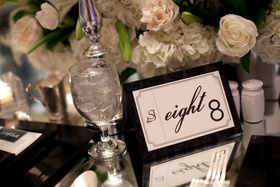 Monogram and table number written out on white stationery