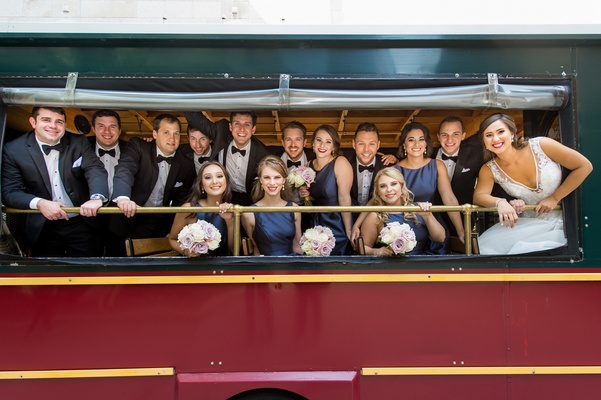 bridal party transportation on chicago trolley, wedding party ride on trolley