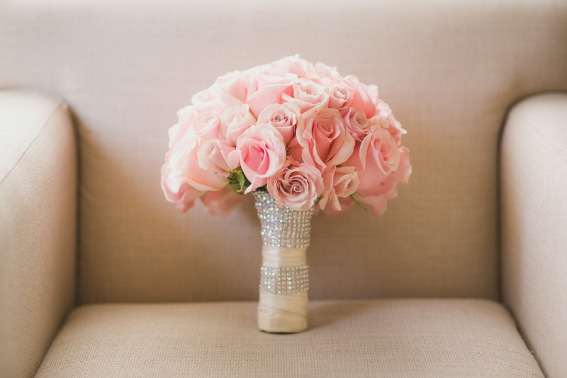 Bouquets Photos - Pink Rose Bouquet with Crystal Wrap - Inside Weddings