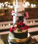 dark floral wedding cake with real flowers and gold accents wallpaper design gold leaf