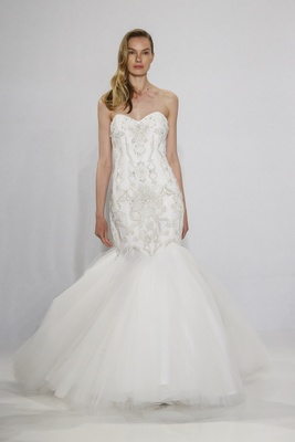 Christian Siriano for Kleinfeld Bridal strapless mermaid wedding dress with embroidered bodice