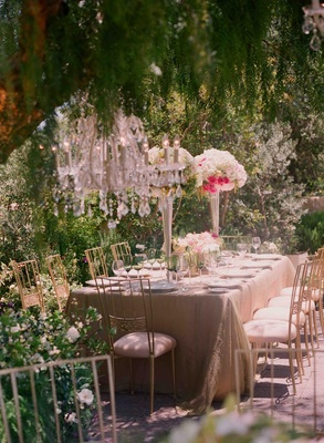 Backyard-inspired reception tables and decor