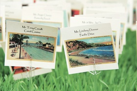 Santa Barbara vintage post cards as place cards