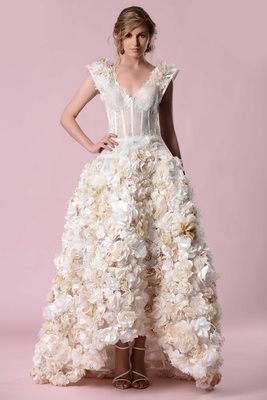 Gemy Maalouf 2016 V Neck Wedding Dress With Gold And White Flower Skirt High