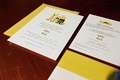 Bold yellow NYC wedding invite for Indian wedding
