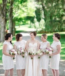bride in Romona Keveza Legends L267, bridesmaids in watters encore hawthorn white lace dresses