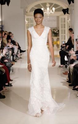 Oleg Cassini Fall 2018 bridal collection spring 2019 wedding dress v neck tip shoulder lace