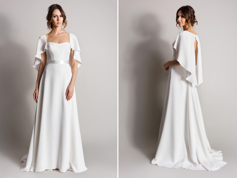 "Wedding Gown With Cape: ""Nightingale"" By Suzanne Neville"