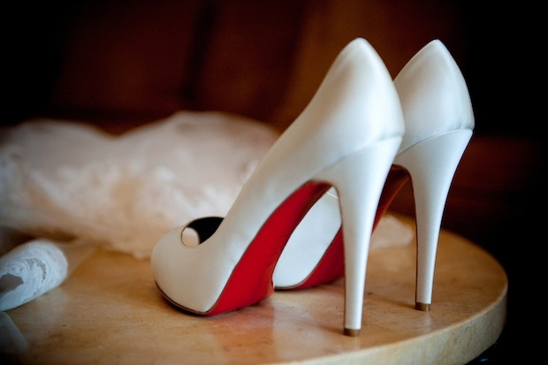 Christian Louboutin white heels with red sole