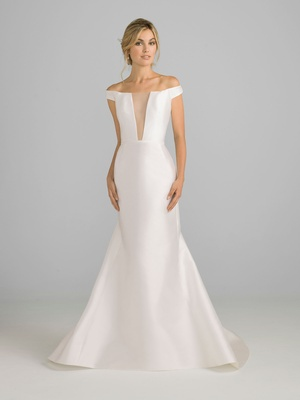 Azul by Liancarlo 2018 bridal collection off shoulder silk satin wedding dress illusion v neckline