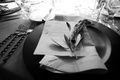 Black and white photo of olive branch at wedding place setting