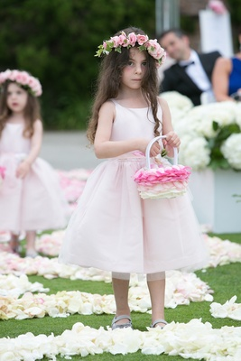 Flower girl with rose petal basket in ombre design