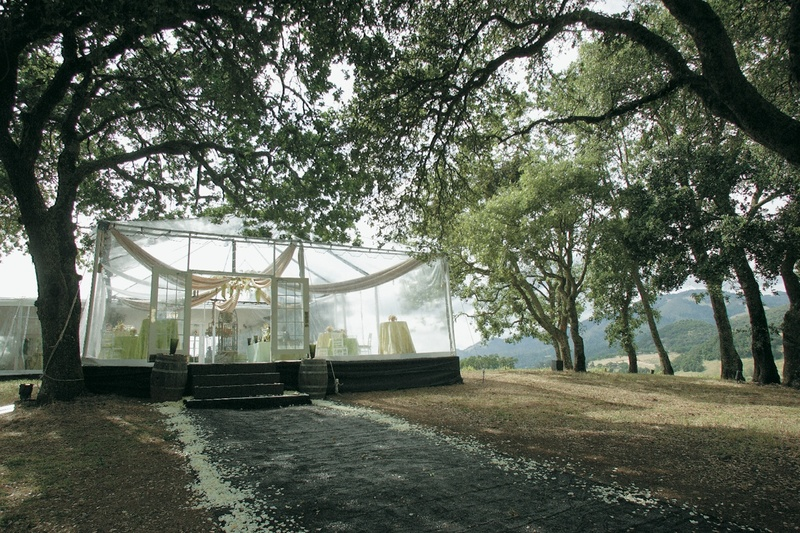 Clear-sided wedding reception tent at Kunde Estate Winery
