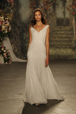"""fit and flare """"silvia"""" dress with exposed seams by jenny packham"""