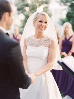 DFW Events bride Karen's gown features a sheer illusion neckline, elegant beading, and an A-line ski