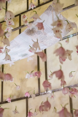 mother of the bride's tallit chuppah jewish tradition pink flowers strings new york city wedding