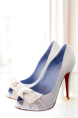 Peep toe Christian Louboutin bridal shoes with red soles