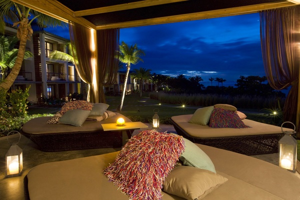 W Retreat & Spa, Vieques Island living room deck in the evening.