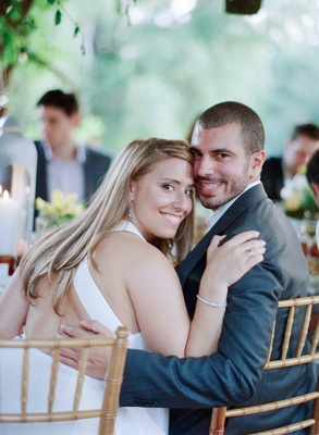 Bride and groom at garden rehearsal dinner in Ojai