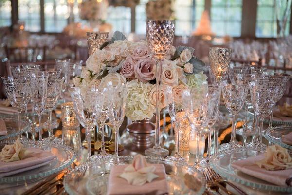 wedding reception low centerpiece white hydrangea pink rose mercury glass candleholder mirror