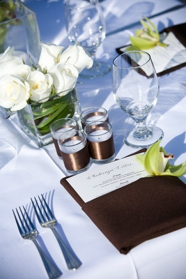 Beach wedding low centerpiece with white roses