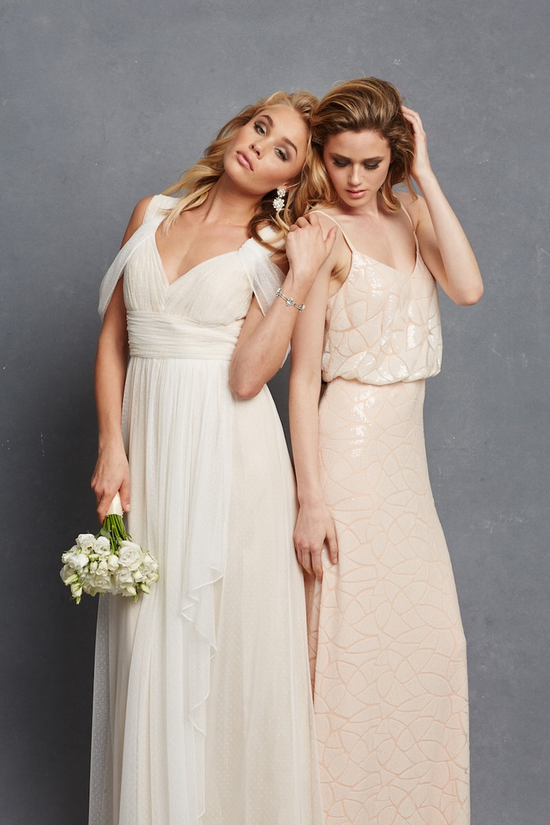 Bridesmaid dresses donna morgan serenity collection inside two bridesmaids with white draped dress and nude shiny gown ombrellifo Choice Image