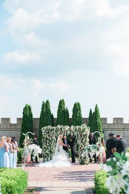 bride in galia lahav dress, castle wedding, spring colorss