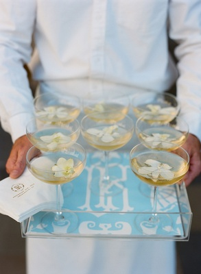 Tray with monogram blue lucite acrylic tray with coupe glass champagne with ivory flowers server