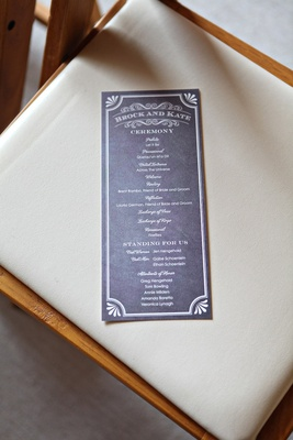 Wedding ceremony program in slate grey with white type