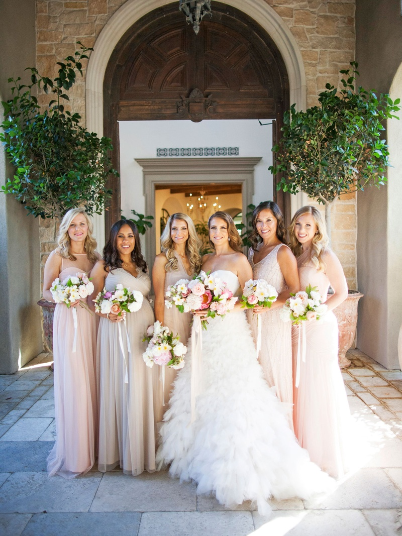 Brides bridesmaids photos pink taupe mismatched bridesmaid pregnant bridesmaid maternity bridesmaid dress ideas monique lhuillier wedding dress bhldn gowns ombrellifo Gallery