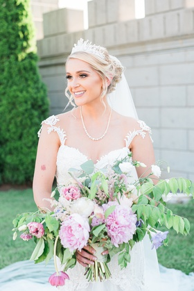 bride in galia lahav dress, pearl necklace, tiara