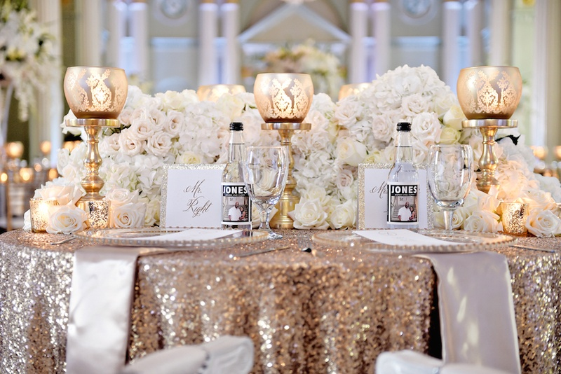 Reception D 233 Cor Photos Gold Sequin Wedding Table
