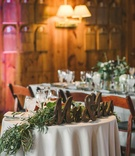 small sweetheart table mr. & mrs. signage wood gold green runner maine wedding rustic theme