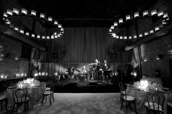 Black and white photo of wedding band in wine country