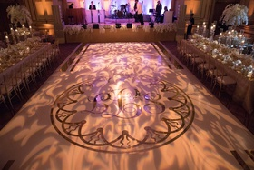 wedding reception the plaza ballroom dance floor with monogram and light projections live band