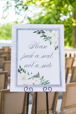 wedding ceremony please pick a seat, not a side ivory flower watercolor motif on easel display