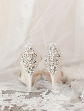 Wedding shoes ivory white high heels with crystal rhinestone on heel pump ankle strap